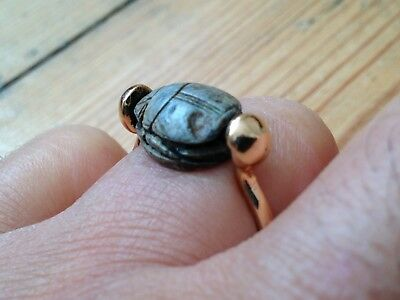 Superb Ancient Egyptian Scarab Bead Gold Ring Circa 2010-1793Bc