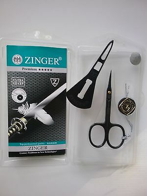 Zinger Premium nail, manicure,pedicure, cuticle scissors, plastic case  black
