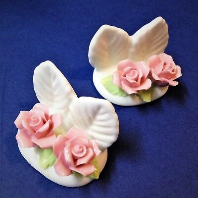 2 x Bone China Name / Place Card Holder with Pink Double Roses
