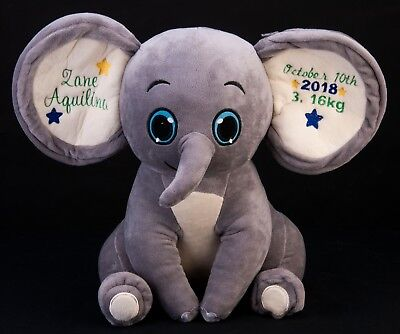 Personalised Dumble Elephant, New Baby Teddy Bear Gift, any name date birth huge