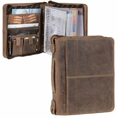Conference Folder A4 Leather Brown Writing Case Orga Ring bar + Mini Coin Purse