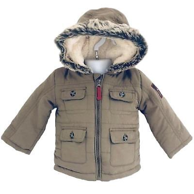 Baby Boys Coat Quilted Fleece Lined Hooded Ex Uk Store Winter Parka Coat 0-24M