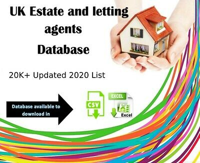 UK letting and Estate agents database 20,000 (20K emails)