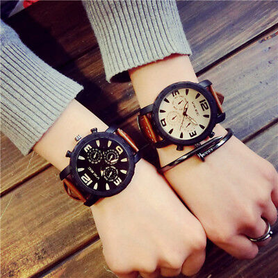 Sport Large Dial Men's Women's Faux Leather Band Quartz Wrist Watch Couple Gift