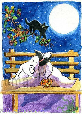 Ghost Friends Black Cat Full Moon Halloween Pumpkin Wall Art Print