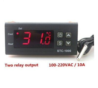 Digital Thermostat Incubator Temperature Controller Sensor Two Relay Output LED