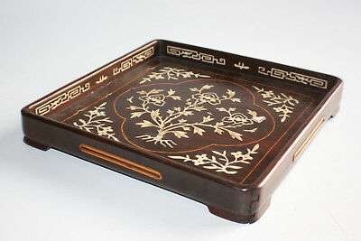 Antique Chinese Wooden Square Shaped Plate Tray with Inlay Picture - Seal Marks