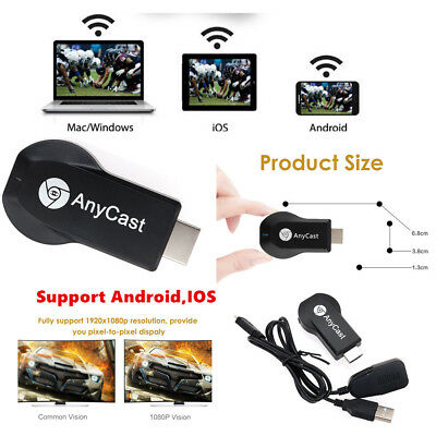 AnyCast M2/4 M9 MX18 M100 Plus WiFi Display Receiver Airplay Support Android IOS