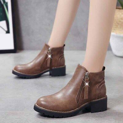 0b030566e16799 Womens Leather Martin Boots Ankle Chelsea Shoes Casual Low Heel Warm Comfy  New