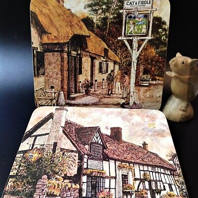 70s Vintage - Set x6 English Inns (PUBS) Cork Placemats - 22x18cm Cloverleaf