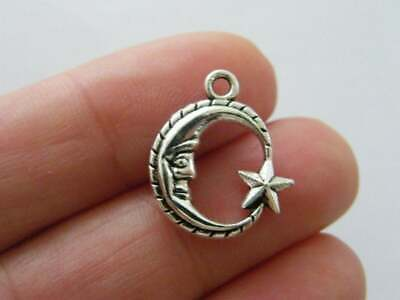 8 Star moon sun charms antique silver tone S49