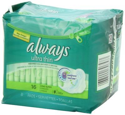 Always Ultra Thin Long/Super With Wings Unscented Pads 16 Count-Pack of 2