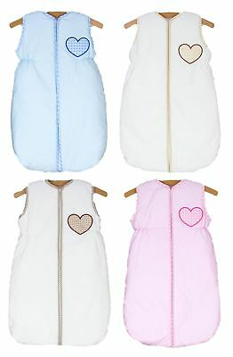 Baby Nursery Sleeping Bag 2.5 Tog 6 - 18 Months 100% Cotton - Hearts