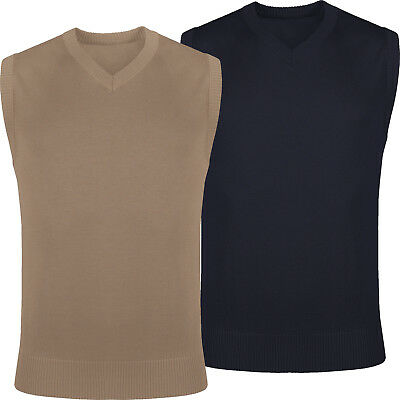 New Mens Slipover Knitted Sleeveless V Neck Plain Jumper Vest Pullover Tank Top