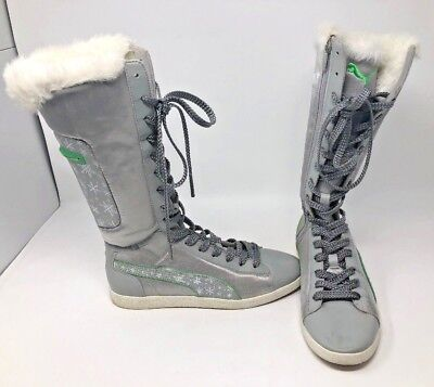 PUMA WOMEN'S WINTER Boots Knee High Silver & Green Accents