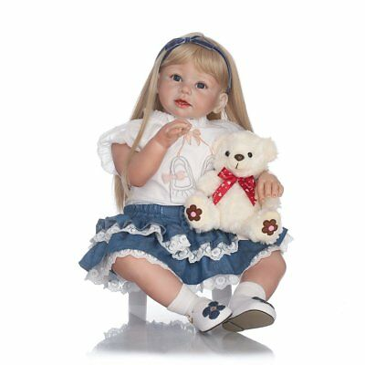 Lifelike Reborn Toddler Silicone Girl Blonde Hair Children's Wear Model Doll  I5