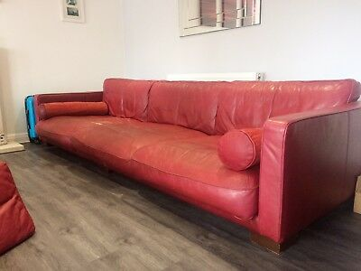 Red Burgundy Leather Sofa Dfs 4 Seater