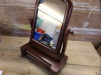 Victorian Swing Mirror With Drawer.  In Mahogany On Pine.