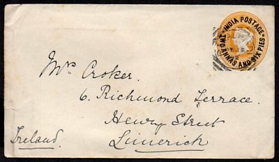 India - 1892 Overprinted Prepaid Cover to Ireland, Bombay & Limerick Postmarks