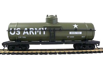 HO Scale Model Railroad Trains Layout US Army 40' Tanker Military Rolling Stock