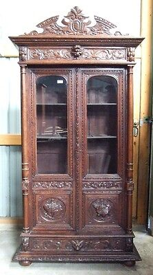 Antique French Carved Renaissance Narrow Bookcase Cabinet