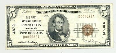 higher grade Princeton, New Jersey $5 1929 National Banknote no reserve
