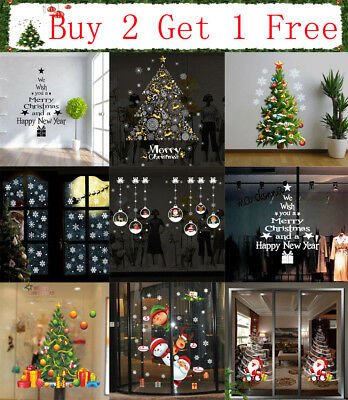 ALL Merry Christmas Gift Wreath Wall Window Sticker Decal XMAS Home Shop Decor E