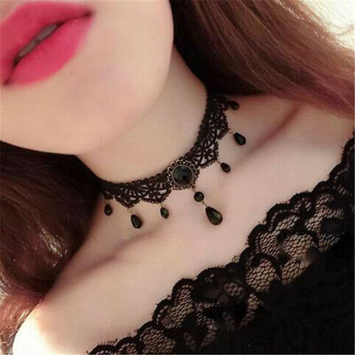 Punk Style Vintage Black Collar Choker Lace Bead Evening Party Jewelry Gift N7