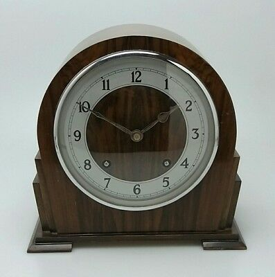 ** GARRARD Vintage Mantel Clock, 1931 Serviced. With Key - Chimes Hourly **