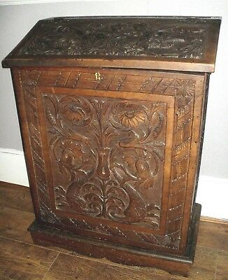Original Carved Wooden Lecturn 19Th Century Ecclesiastical