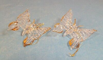 "Lot of 2 Vintage Glass Butterfly Ornaments Clear & Gold - About 2 1/4"" Wingspan"