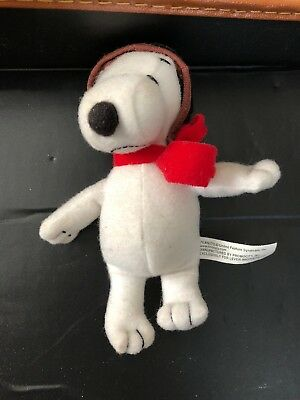 """Snoopy Mini Plush Red Baron Flying Ace 5"""" Small Stuffed Animal Peanuts Lever Dog"""