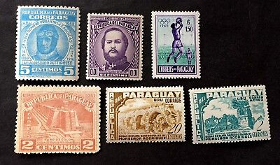 Paraguay - 6 old unused stamps 01
