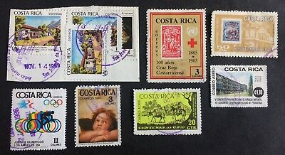 8 old canceled stamps Costa Rica