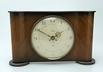 SMITHS VINTAGE 1960s WOODEN  MANTEL CLOCK - 8 DAY - SERVICED FULLY WORKING