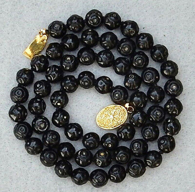 ANTIQUE VINTAGE CHINESE HAND CARVED BLACK CORAL 8mm BEAD 21 INCH NECKLACE