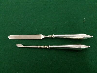 Pair of Hallmarked 1929 D Moss Sterling Silver Handled Nail File & Cuticle Tools