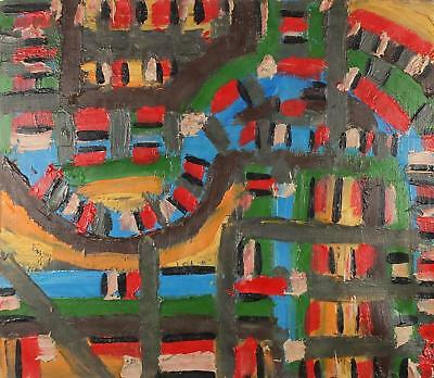 William Gear RA, British 20thC, Large Signed Fine Antique Abstract Oil Painting