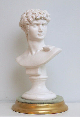 A Fine Little Bust, After Michelangelo's David, Painted Plaster