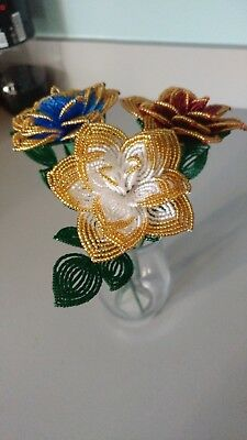 NEW Handmade french beaded Flower red, white and blue gold tipped roses two tone