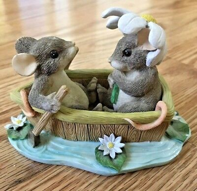 """Charming Tails Figurine """"Rowboat Romance"""" Fitz & Floyd 83/801 By Dean Griff"""