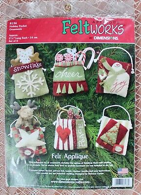 Appliqué Feltworks by Dimensions Holiday Pocket Ornaments # 8136