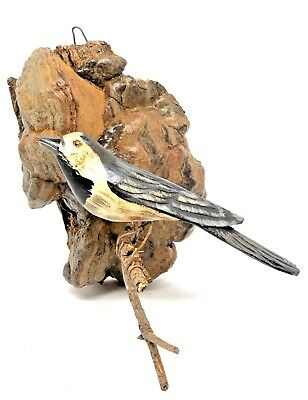 NP14 * Large Antique Folk Art Bird Wood Carving Wall Ornament Austria 1930s