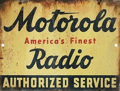 Retro Vintage Nostalgic Motorola Radio Repair Service Metal Tin Sign 9x12
