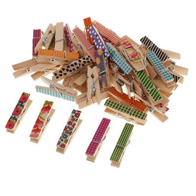 50pc Patterned Wooden Clips Mini Wood Pegs Clothespin DIY Christmas Decors