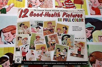 """Vtg 1965 """"12 GOOD HEALTH HABITS"""" Classroom Pictures, 9 x 11 Posters Teaching Aid"""