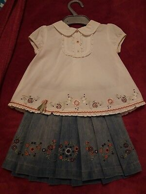 Mamas and papas baby girls Skirt Top Outfit 12-18 Months