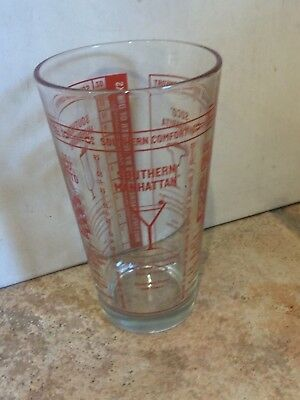 Vintage Southern Comfort Clear Glass Red Embossed Drink Recipe Bar Mixer 12 Oz.