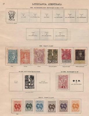 LITHUANIA: 1920-1935 Examples - Ex-Old Time Collection - 2 Sides Page (19794)
