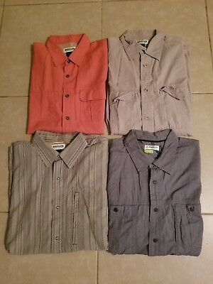 Lot of 4 Magellan Men's Casual Button Down Shirts Short Sleeve in size L